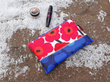 Waterproof makeup bag from Marimekko oilcloth fabric mini Unikko by NordicCrafter