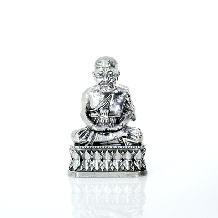 Luang Pu Thuat: Thai Buddhist Monk Silver Statue - Heads or Tales Coins & Collectibles