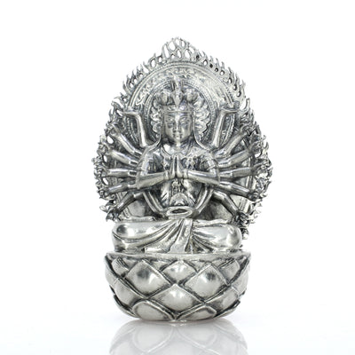 Avalokiteśvara the Thousand Armed Goddess Silver Statue - Heads or Tales Coins & Collectibles