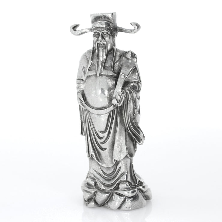 Chinese God of Wealth & Fortune Silver Statue - Heads or Tales Coins & Collectibles