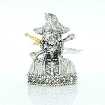 Silverbeard the Pirate Skull Silver Statue - Heads or Tales Coins & Collectibles