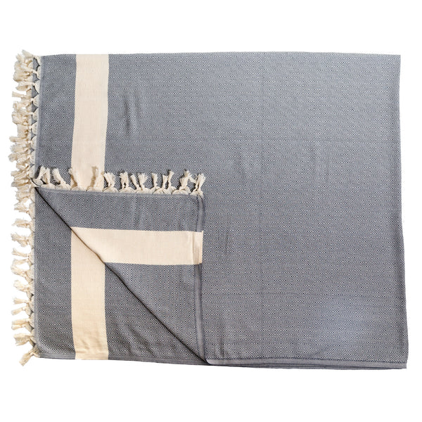 Diamond Turkish Cotton Blanket 76X96 Slate