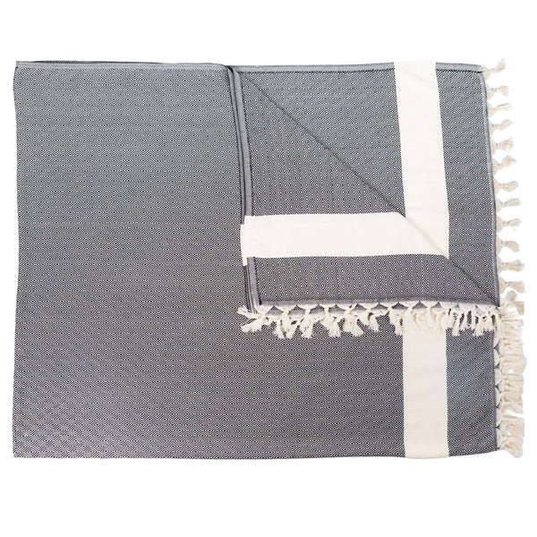 Diamond Turkish Cotton Blanket 76X96 Carbon