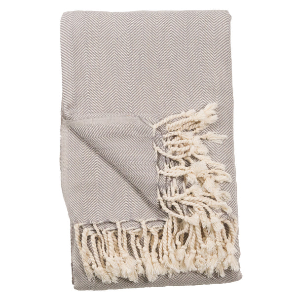 Fishbone Blanket 80X100 Pearl Grey