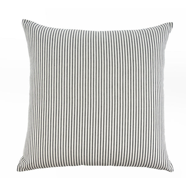Black Ticking Cushion Feather 24x24