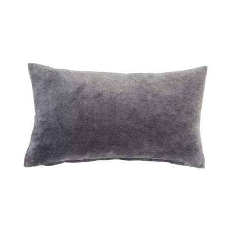 Vera Velvet Cushion 21x12 Charcoal