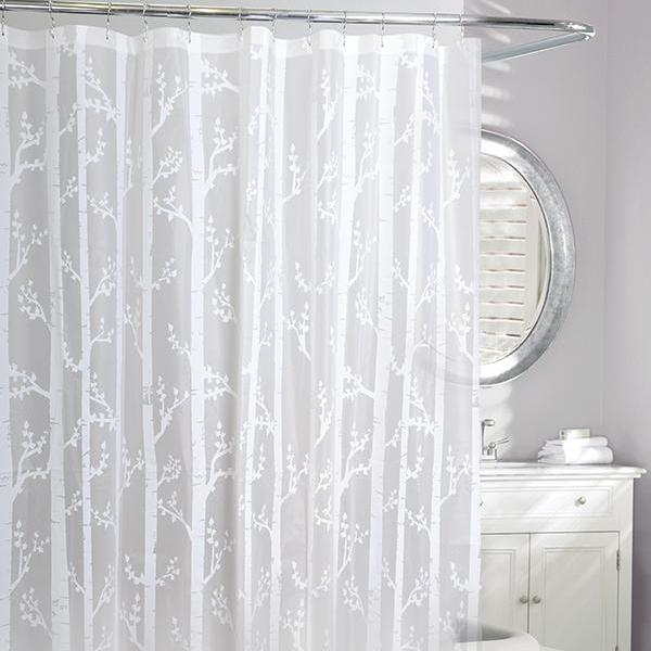 Birch Peva Shower Curtain White