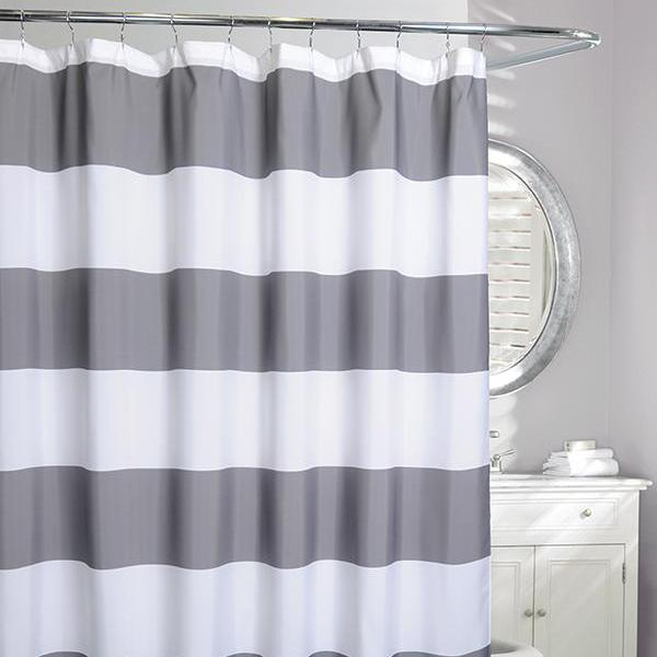 Rail Stripe Shower Curtain Grey White