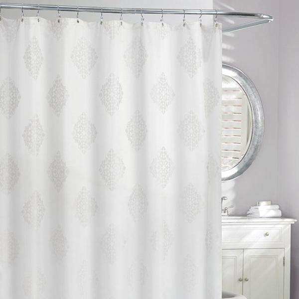 Remy Jacquard Shower Curtain Grey White