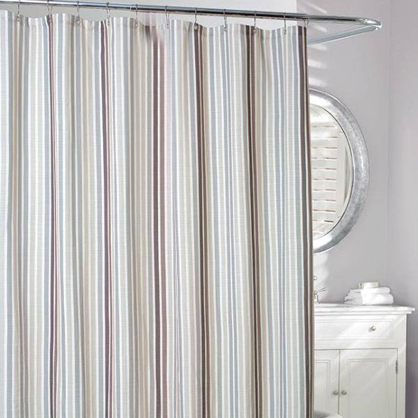 Stratford Stripes Shower Curtain Taupe Grey Chocolate