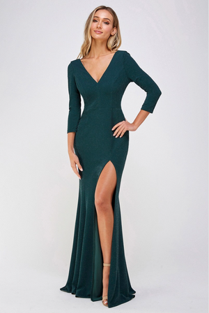 GLITTER 3/4 SLEEVE SLIT SIDE DRESS