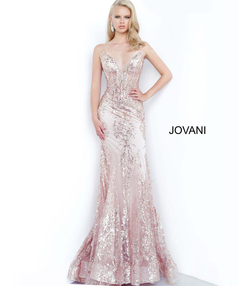 Jovani 3675 Spaghetti Straps Embellished Dress