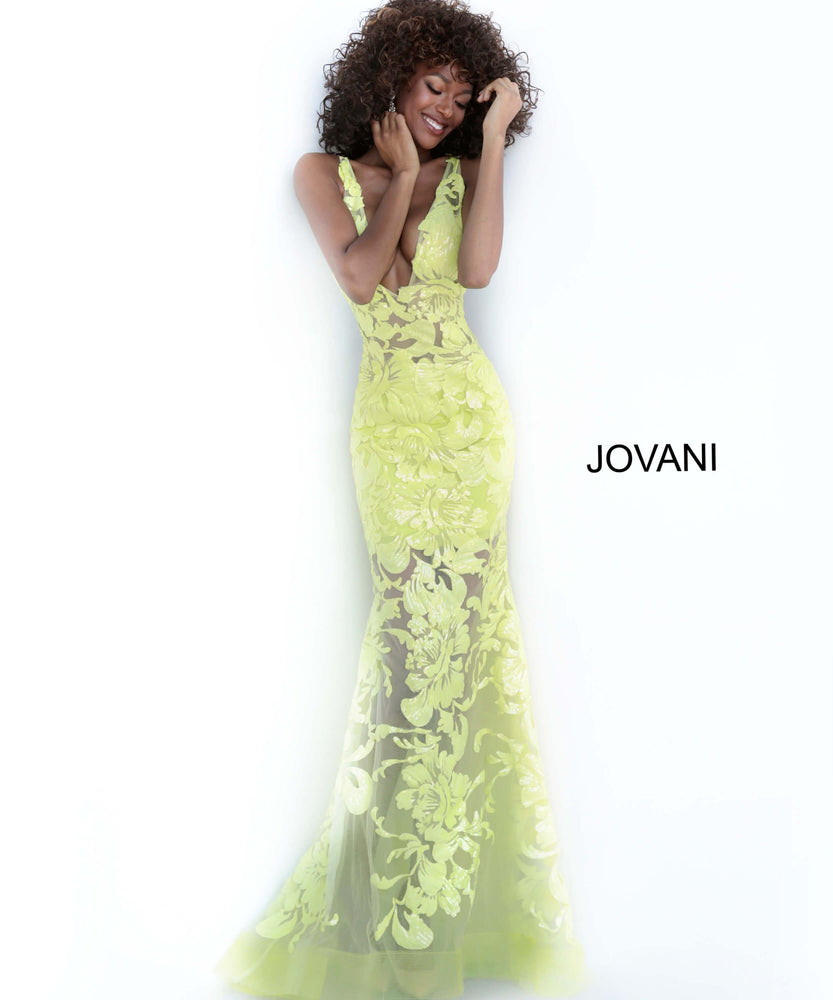 Jovani 60283 Plunging Neckline Embellished Dress