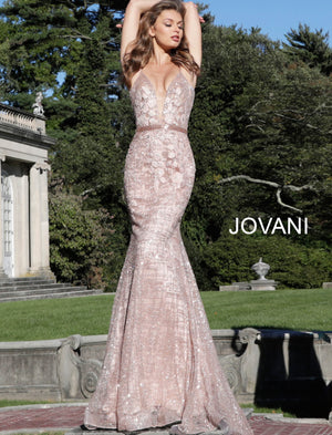 Jovani 62517 Embellished V Neckline Dress