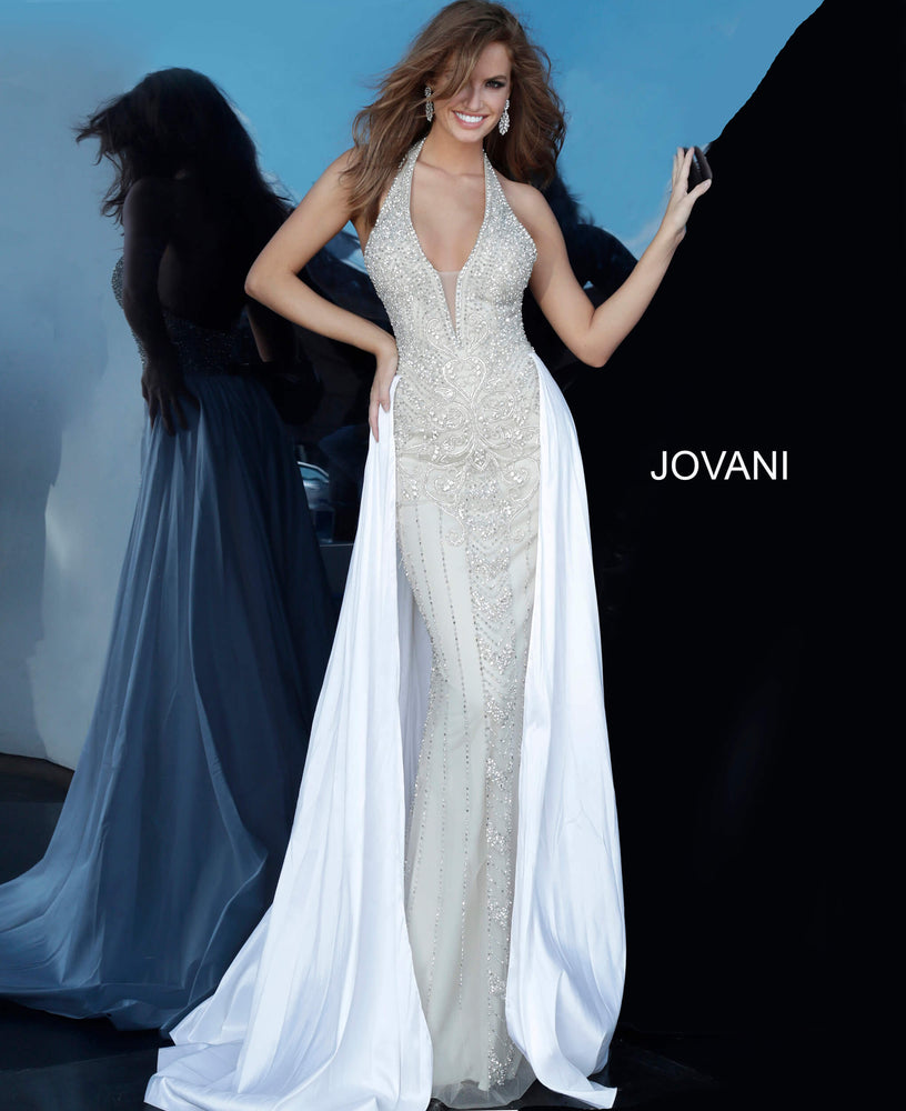 Jovani 3608 Halter Neck Embellished Prom Dress