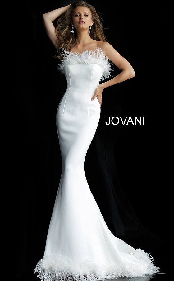 Jovani 63891 Black Strapless Feather Neckline Evening Dress