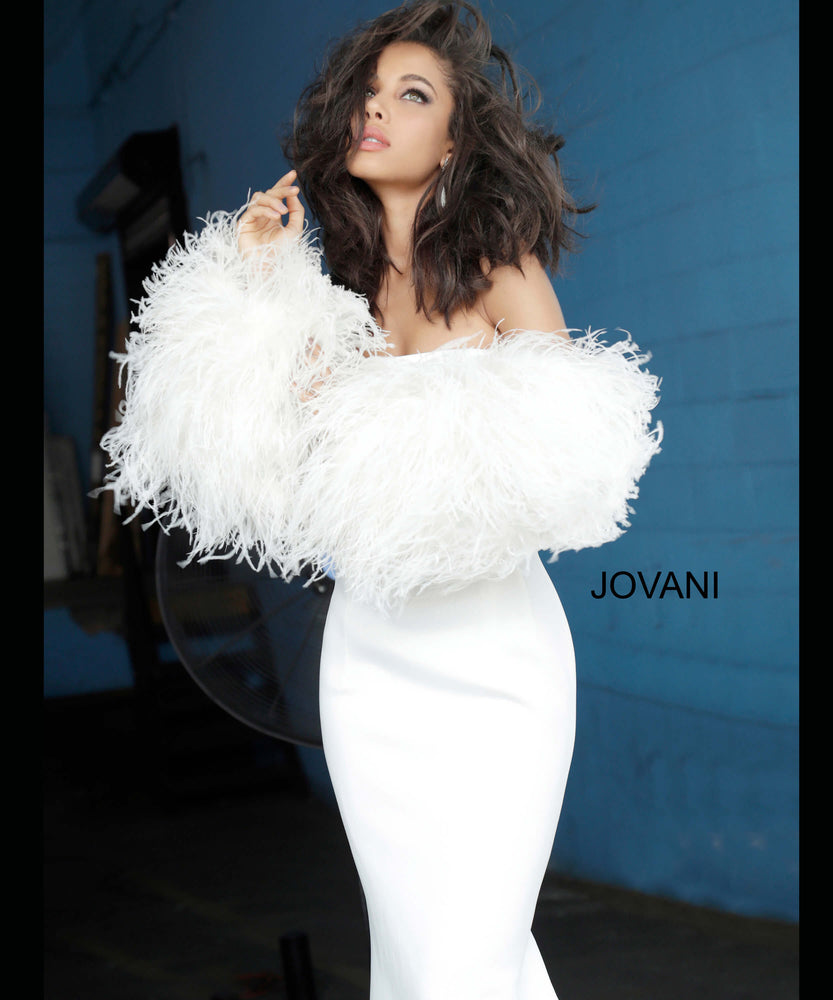 Jovani 1226 Strapless Fur Sleeves Gown