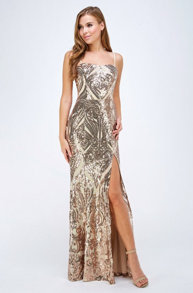 Slit Side Sequin Dress