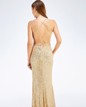 Cut Out Back Sequin Maxi Dress