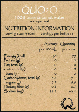 QUOhk Quo2o Nutrition Fact