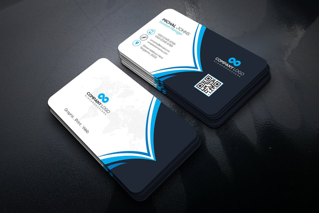 DFY BC 1 - Solutions Business Card Design Blue