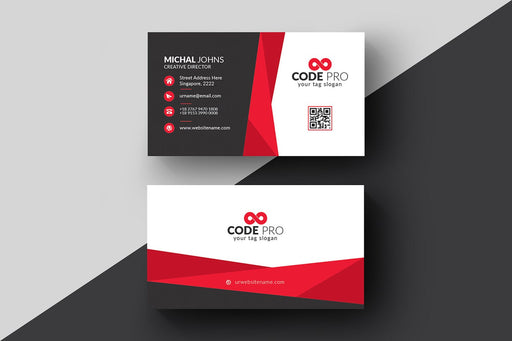 DFY BC 2 - Code Business Card Design Red