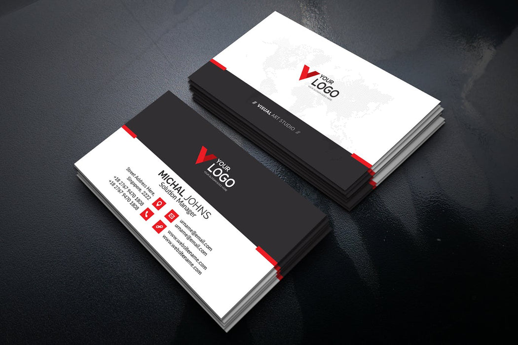 DFY BC 3 - Visual Art Business Card Design Red