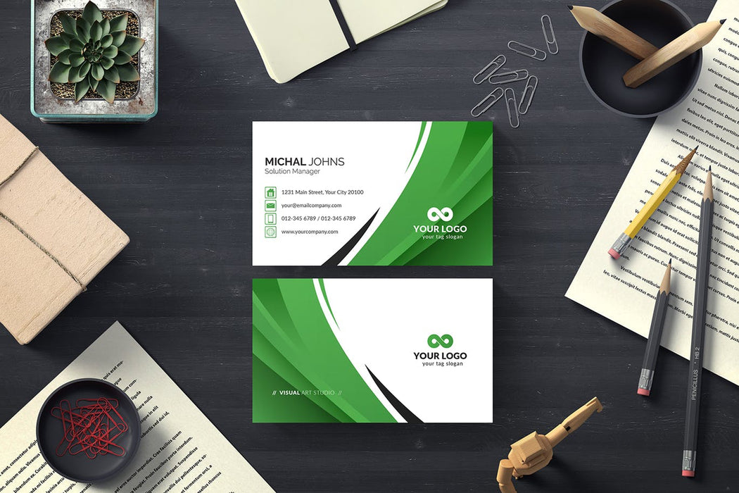 DFY BC 43 - Authentic Business Card Design Green
