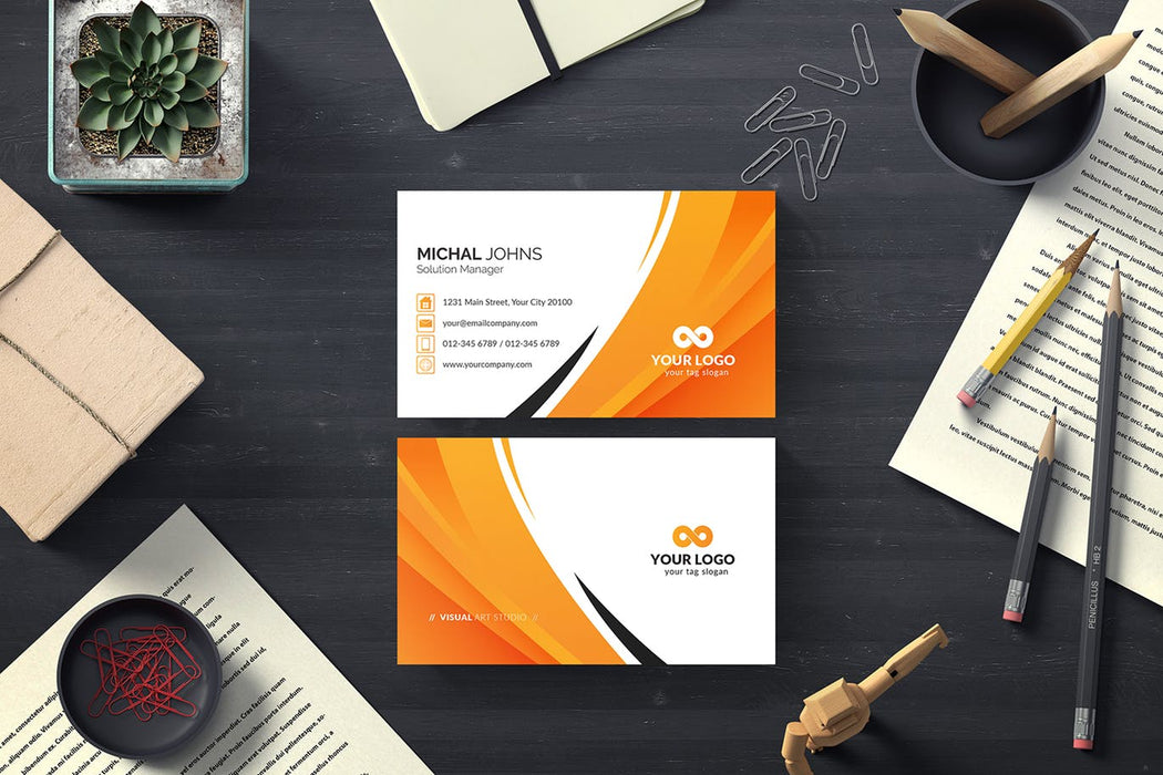 DFY BC 43 - Authentic Business Card Design Orange
