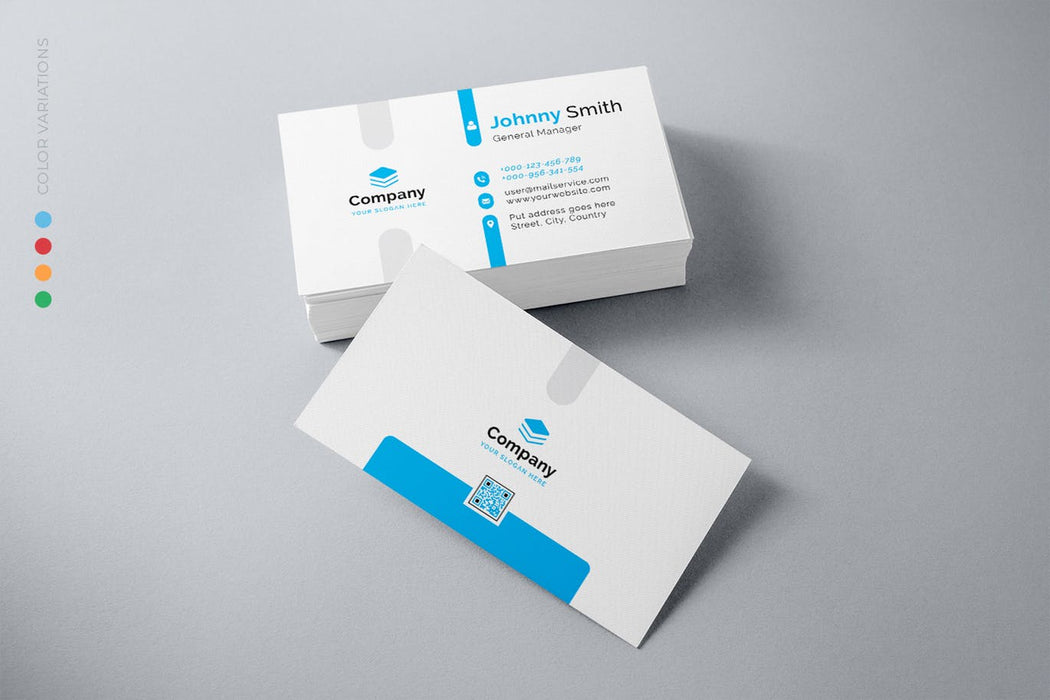 DFY BC 46 - Luminous Business Card Design Blue