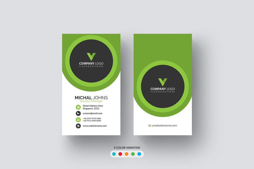 DFY BC 51 - Visionary Business Card Design Green