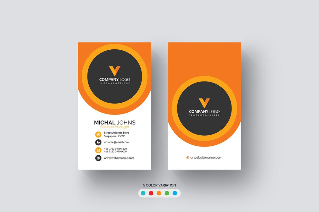 DFY BC 51 - Visionary Business Card Design Orange