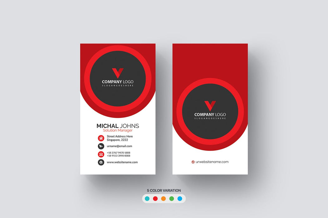 DFY BC 51 - Visionary Business Card Design Red