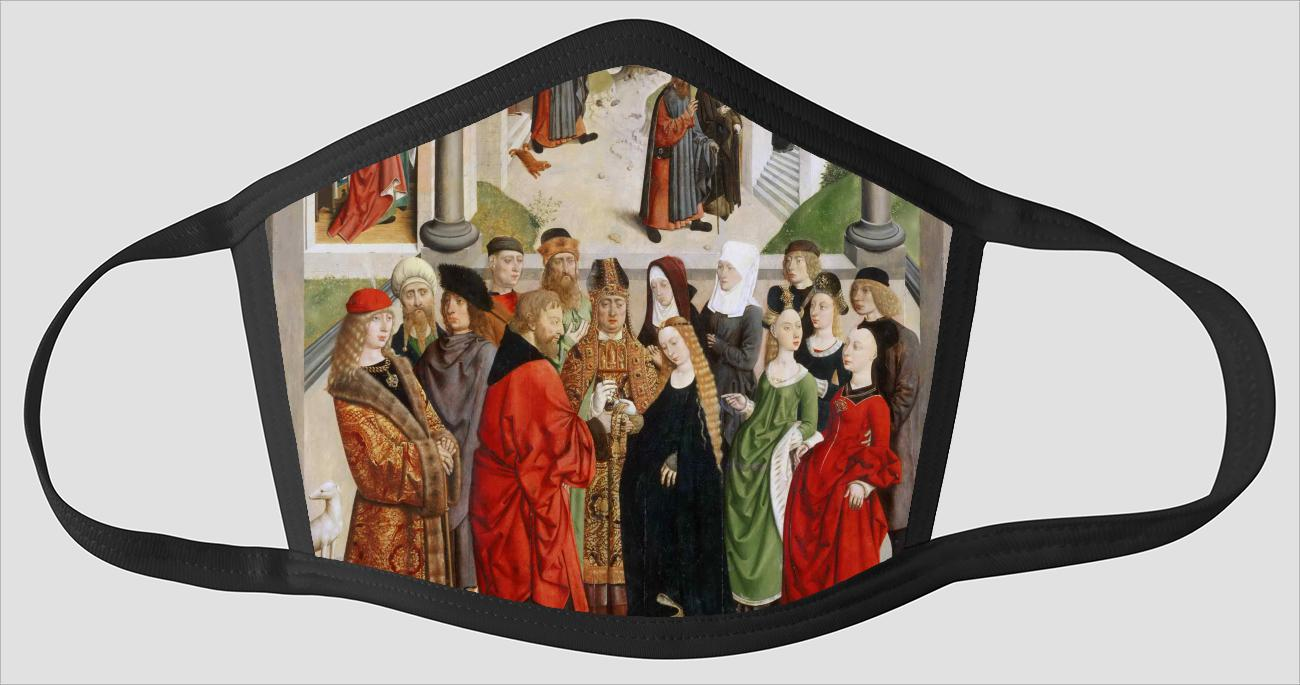 Netherlandish active Louvain and Haarlem active  The Marriage of the Virgin    with the Expulsion of Saint Joachim from the Temple    the Angel Appea - Face Mask