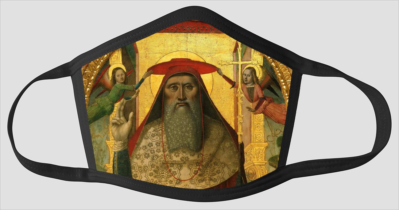 Nicolo Corso    Enthroned Saint Jerome    with Angels - Face Mask