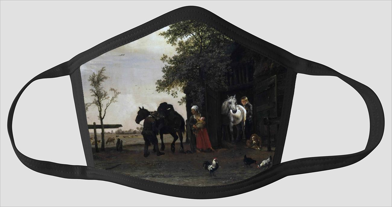 Paulus Potter    Dutch    Figures with Horses by a Stable - Face Mask
