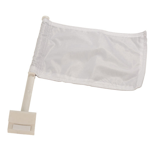 "12"" x 8"" WhiteCar Flag with Pole"