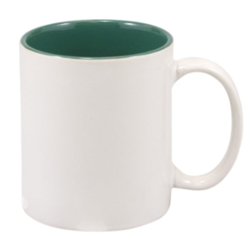 11 oz. White/GreenCeramic Mug