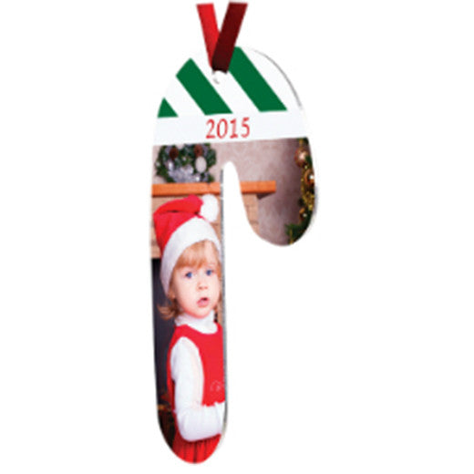 "2.3"" x 4"" Gloss White UniSub Aluminum Candy Cane Ornament"