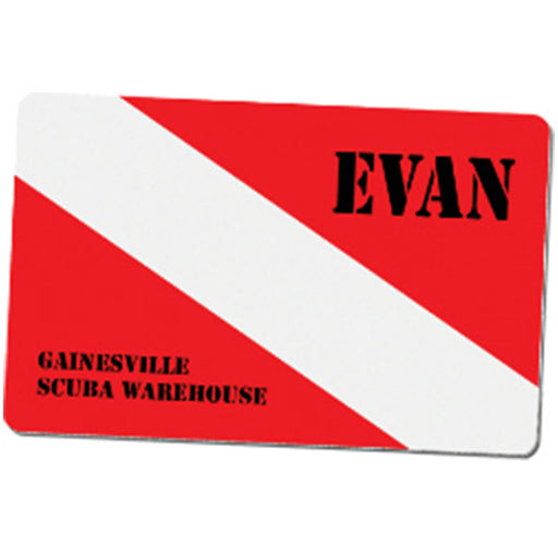 "3.375"" x 2.125"" Gloss White UniSub Aluminum Name Badge with Radius Corners"