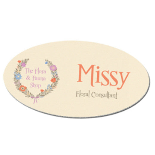 "3"" x 1.5"" Matte White UniSub Aluminum Oval Name Badge"