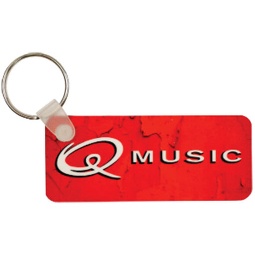 "3"" x 1.25"" Gloss White UniSub FRPRectangle 2-Sided Keychain"