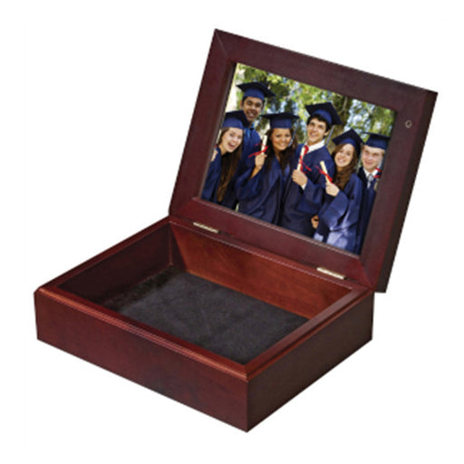 "8"" x 6"" UniSub Mahogany 2-Sided Keepsake Box withInsert"