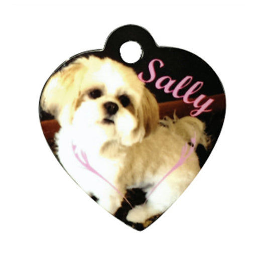 "1.25"" x 1.38"" Gloss WhiteAluminum Heart Pet Tag"