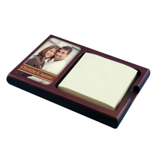 "4.25"" x 6.25"" Mahogany Sticky Note Holder with Gloss White UniSub Insert"