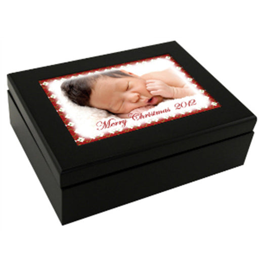 "8"" x 6"" Espresso Black Keepsake Box withInsert"