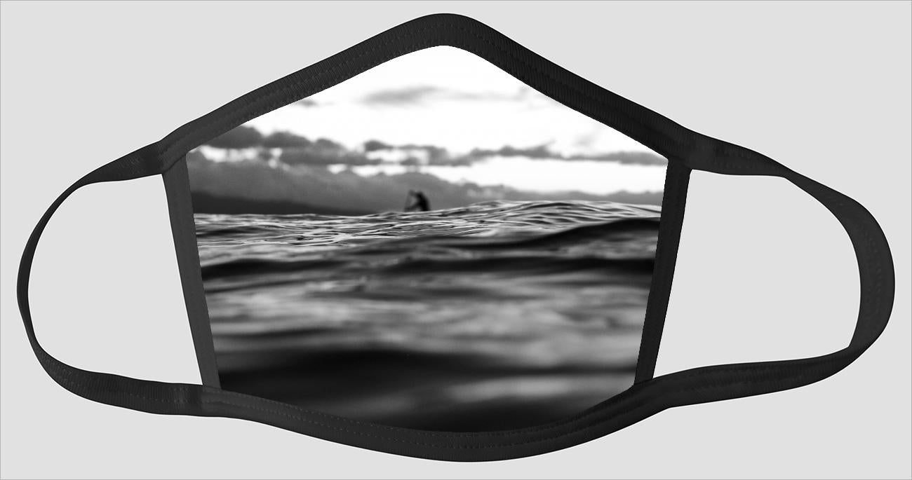 Wading In The Water Greyscale Face Mask Ssmedia7 Ltd