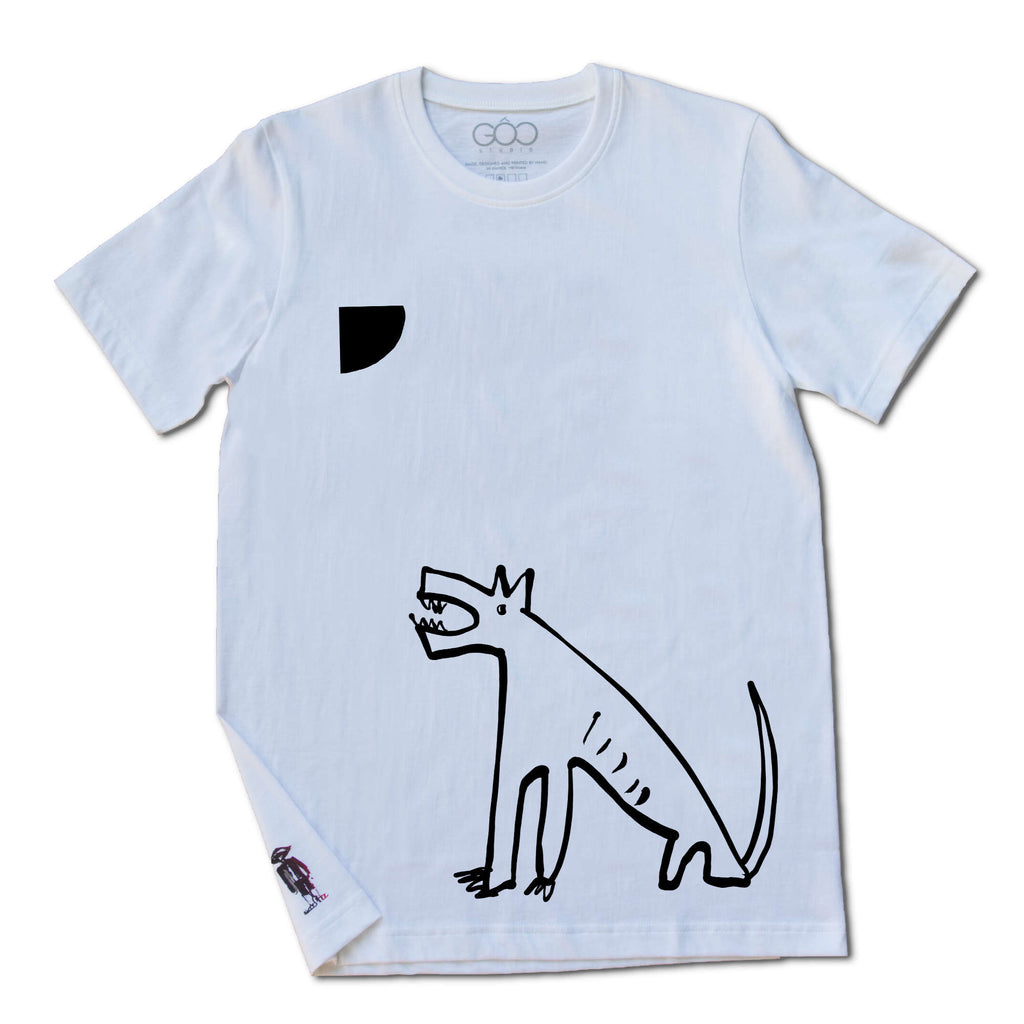 Moon Dog - black print on white unisex t-shirt