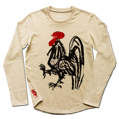 Rooster  - Black and Red Print on Beige Long Sleeve T-Shirt