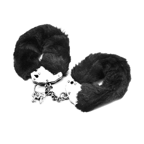 Fetish Pleasure Fluffy Hand Cuffs Black